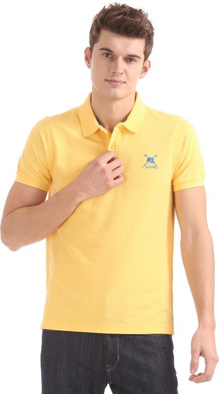 U.S. Polo Assn Solid Men Polo Neck Yellow T-Shirt
