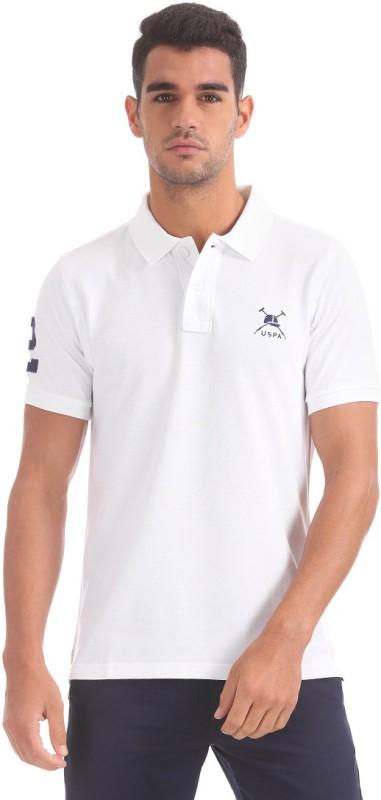 U.S. Polo Assn Solid Men Polo Neck White T-Shirt