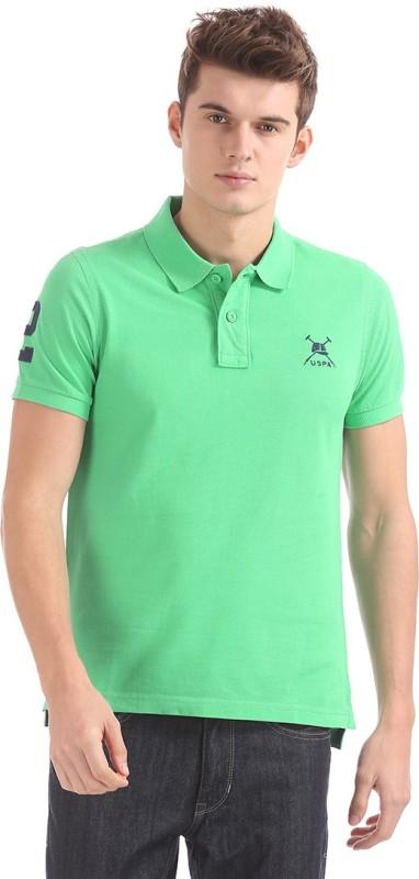 U.S. Polo Assn Solid Men Polo Neck Green T-Shirt