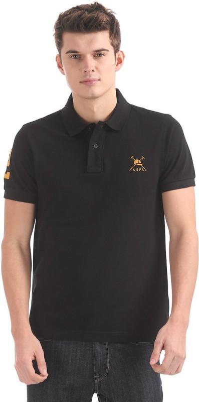 U.S. Polo Assn Solid Men Polo Neck Black T-Shirt