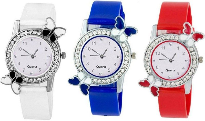Exotica White , Blue & Red Exclusive New Collection Quartz Combo Analogue Watch | Combo Of 3 Different Color Watch | stylish Rubber Belt | Fancy Diamond Case | Amazing Dial | Nice Looking Model | Perfect | Exclusive | Party Wear | Casual | For Women Analog Watch - For Girls
