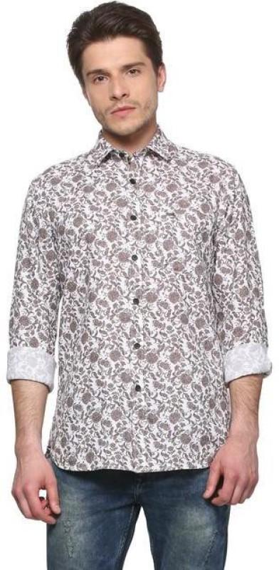 Peter England Men Printed Casual Beige Shirt