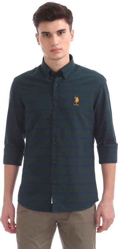 U.S. Polo Assn Men's Striped Casual Green Shirt
