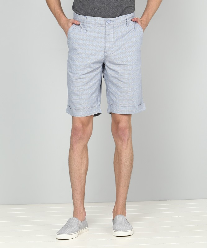 United Colors of Benetton Checkered Men Blue Regular Shorts