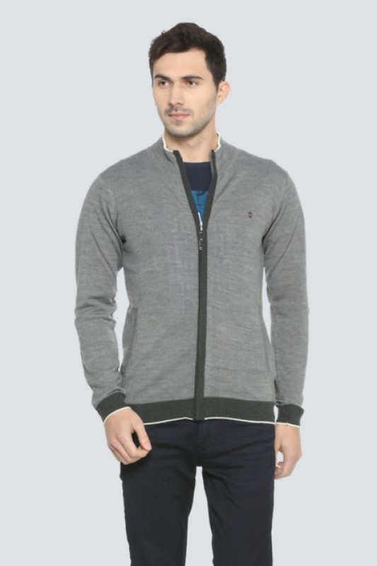 Louis Philippe Solid Turtle Neck Casual Men's Grey Sweater