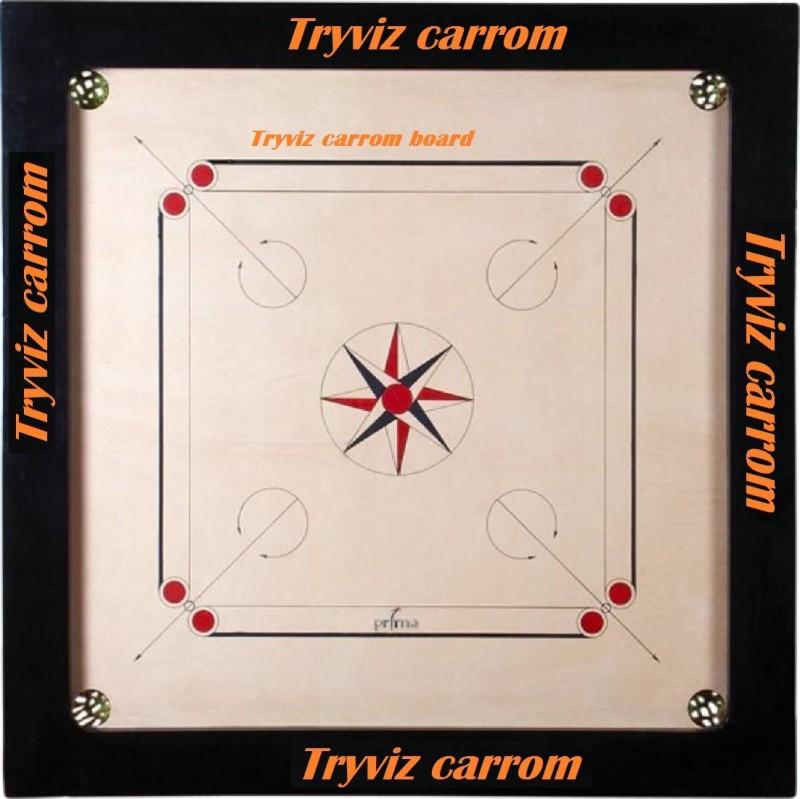 Tryviz 20 * 20 inch Sports High Wood 8 mm Carrom Board Game With Coins Set+striker+powder 20 cm Carrom Board(Brown)