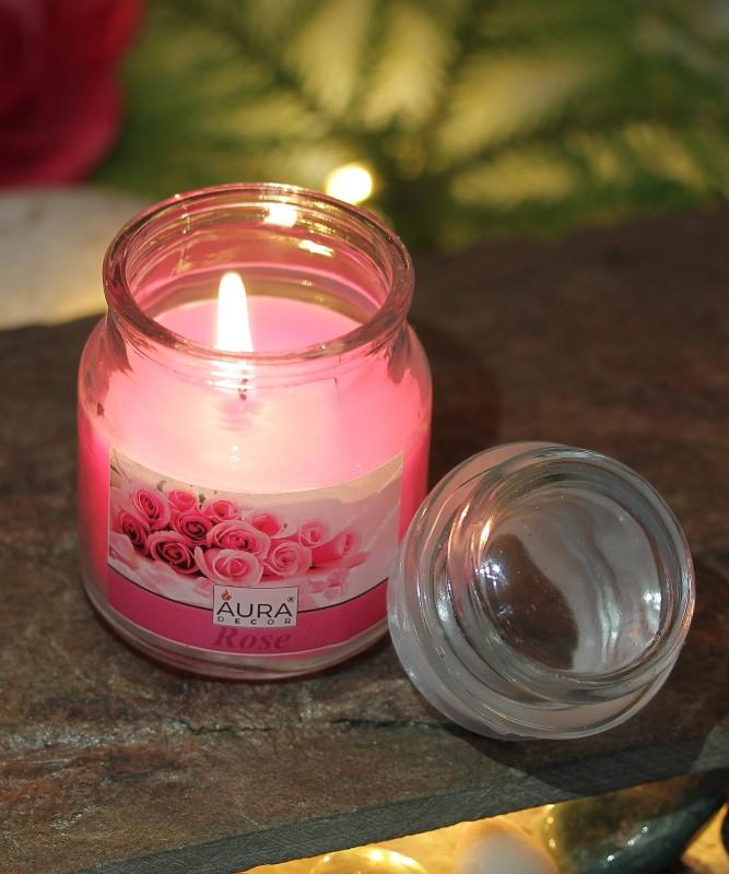AuraDecor Rose Fragrance Cookie Jar Candle(Pink, Pack of 1)