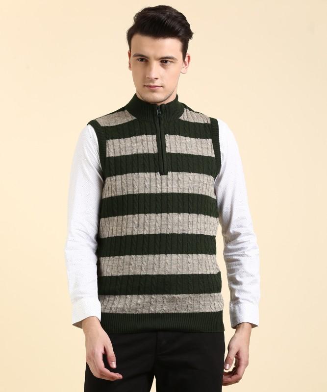 People Striped Turtle Neck Casual Men Multicolor Sweater