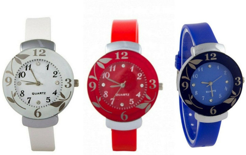Exotica White & Red & Blue Flower New Glory Quartz 3 Piece Combo Analogue Watch | Combo Of 3 Different Color Watch | Stylish Rubber Belt | Attractive flower Design Case| Amazing Dial | Fancy Look | Perfect| Party & wedding Wear | Casual | For Women Analog Watch - For Girls