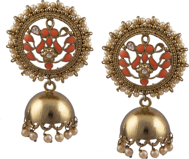 Chinar Jewels Golden Orange Beautiful and Graceful Polki Meena earing Jhumki/Jhumka/jimmiki Style. Indian Traditional Latest and Trendy Stylish designer 2018 collection Jewellery .Party/Marriage/wedding/Vivah/Shadi wear and for all occasions for Girl and Women.Non Allergic Material Alloy Jhumki Earr