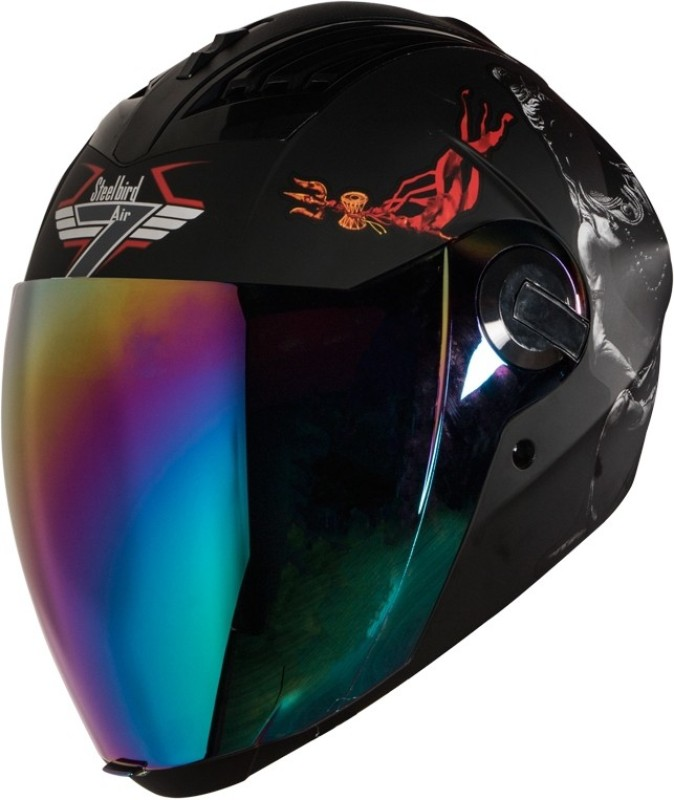 Steelbird SBA-2 Mahadev 7Wings Motorbike Helmet(Black White Chrome Rainbow Visor)