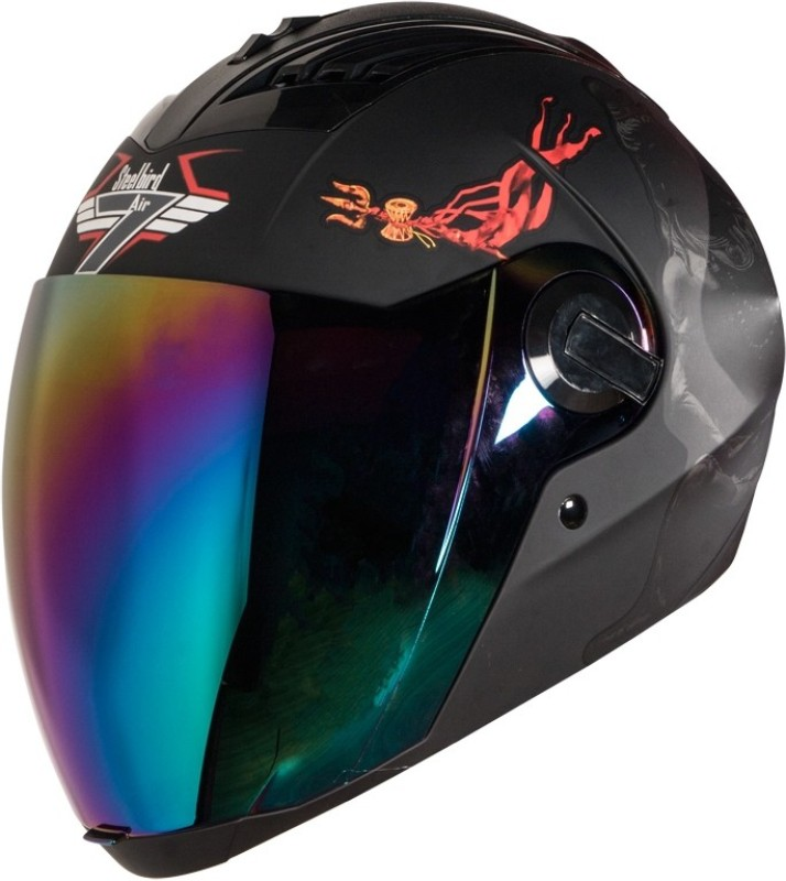 Steelbird SBA-2 Mahadev 7Wings Motorbike Helmet(Black Grey Chrome Rainbow Visor)