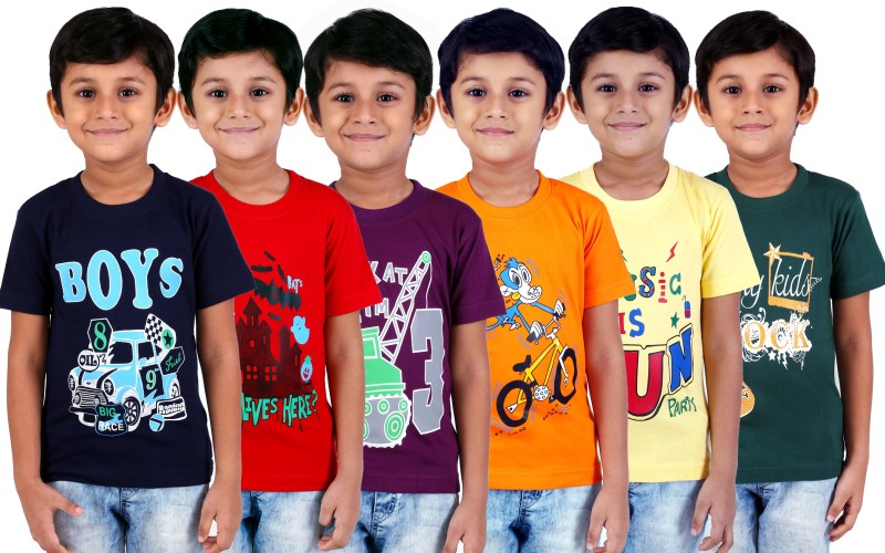 FabTag - Kiddeo Boys Printed Cotton Blend T Shirt(Multicolor, Pack of 6)