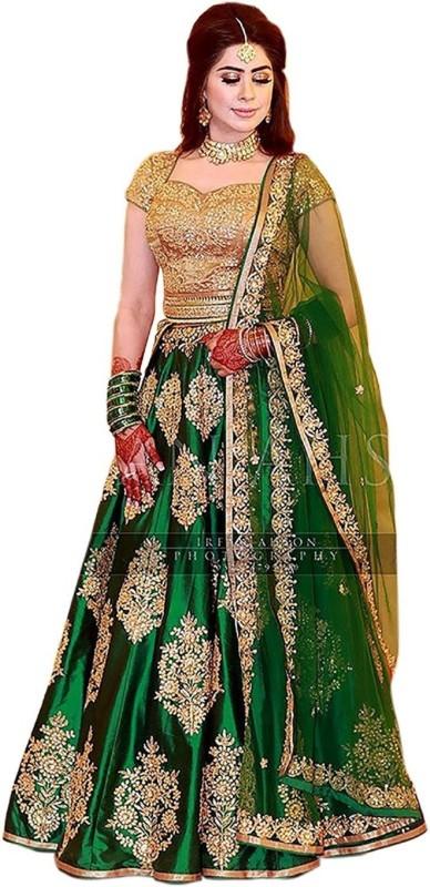 PMD Fashion Embroidered Semi Stitched Lehenga Choli(Green)