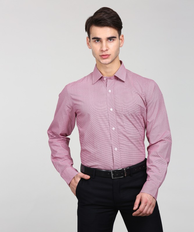 Arrow Men's Self Design Formal Maroon Shirt
