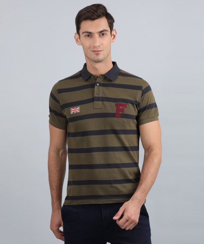 French Connection Striped Men Polo Neck Multicolor T-Shirt
