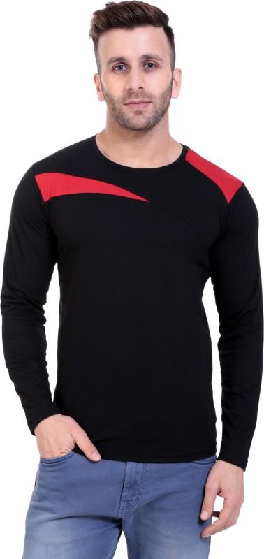LIFEIDEA Solid Men Round Neck Black, Red T-Shirt