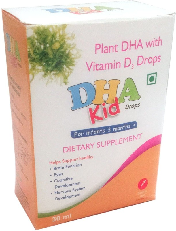 Friska Plant DHA with Vitamin D3 Kid Drop Delicious Health & Nutrition Drop For Infant 3 Months 30ml Unflavored Drops(30 ml)