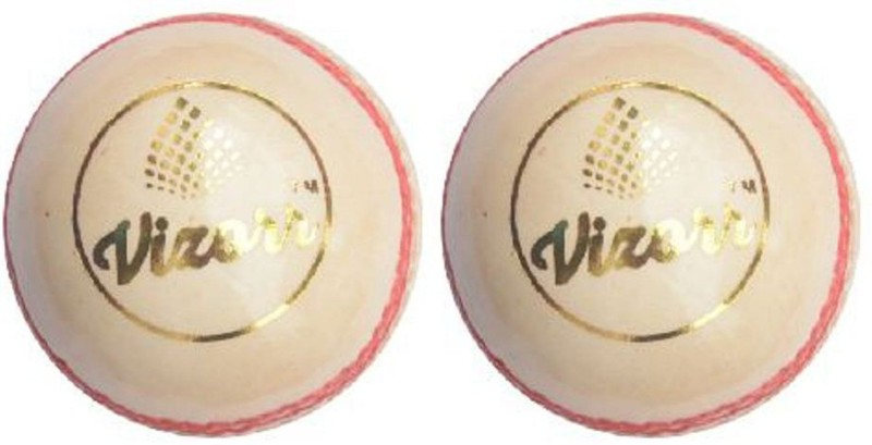 Vizorr Pack of 2 Two Piece Leather Ball Cricket Leather Ball(Pack of 2, White)