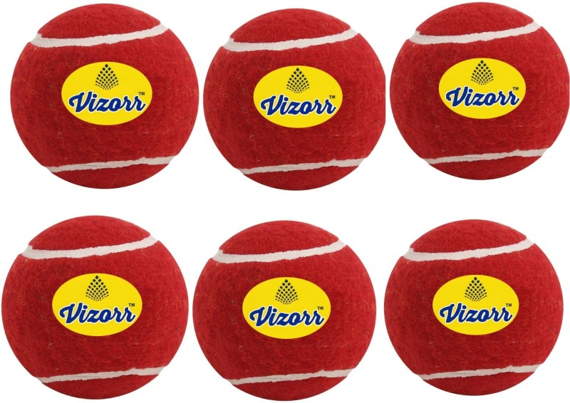 Vizorr Pack of 6 Cricket Tennis Ball Cricket Tennis Ball(Pack of 6, Red)