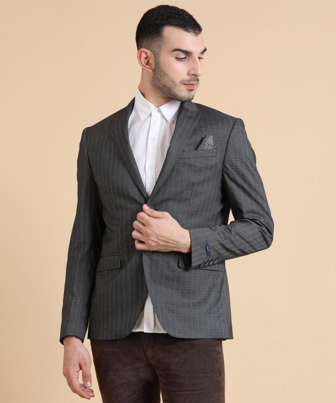Blackberrys Checkered Single Breasted Casual Men Blazer(Grey)