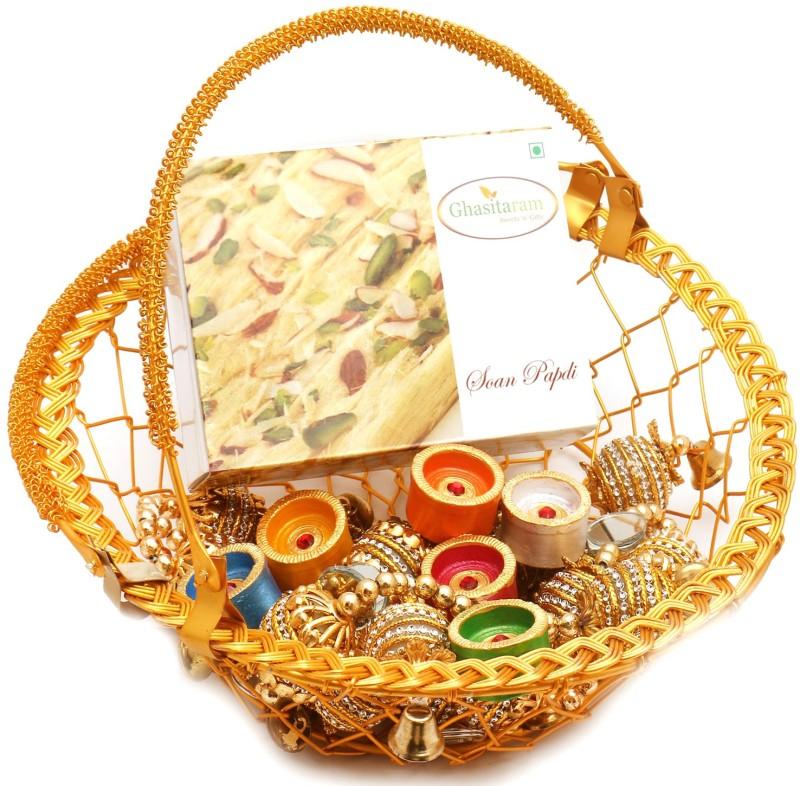 Ghasitaram Gifts Hampers-Golden Metal Basket Basket with Soan Papdi, Toran and Diyas Combo(9)