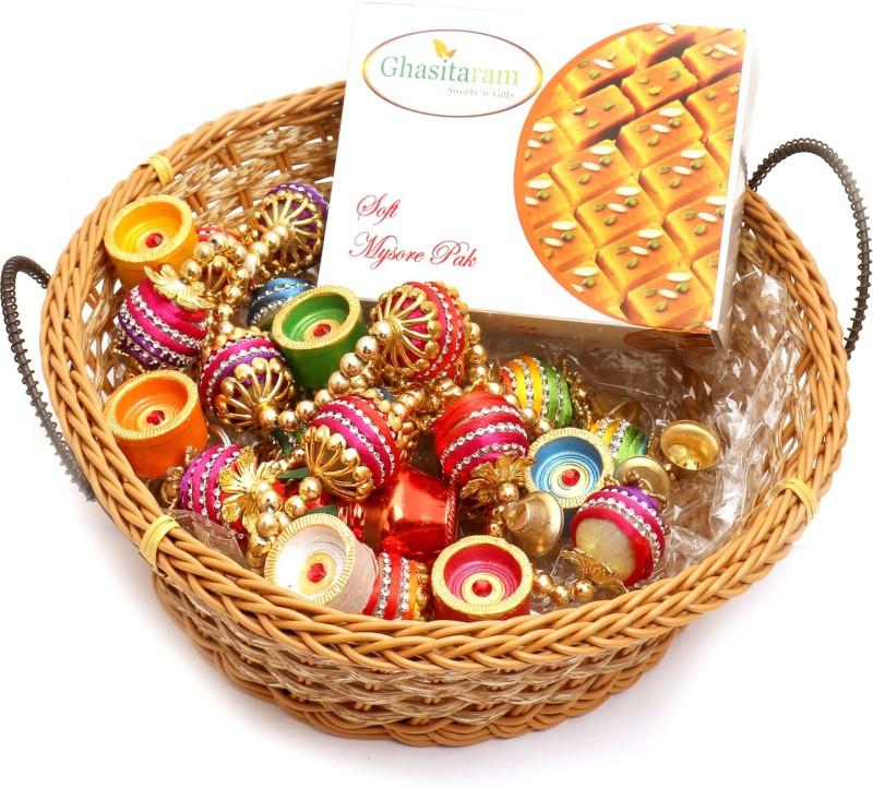 Ghasitaram Gifts Hampers-Big Cane Basket Basket with Mysore Pak, Toran and Diyas Combo(9)