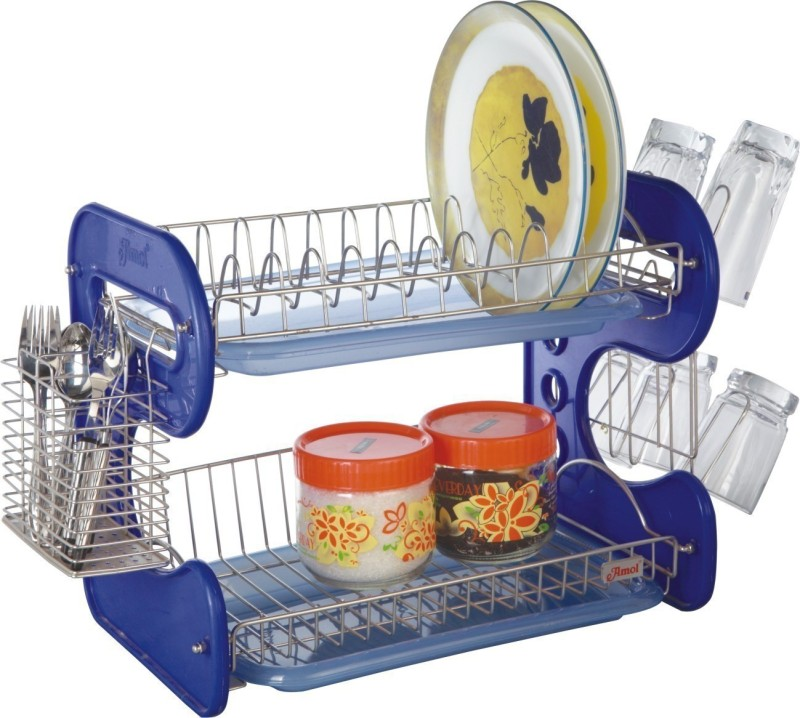 Amol Wave Stainless Steel Kitchen Rack(Blue)