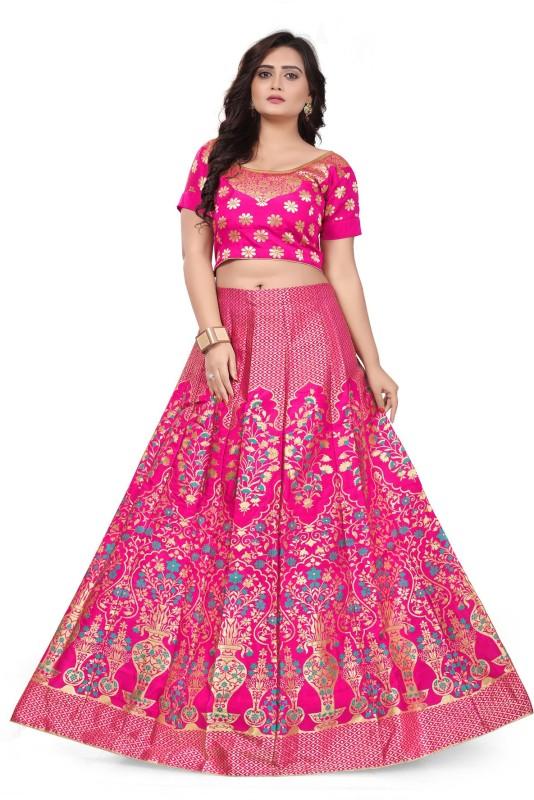 Salwar Studio Printed Semi Stitched Lehenga Choli(Gold, Pink)