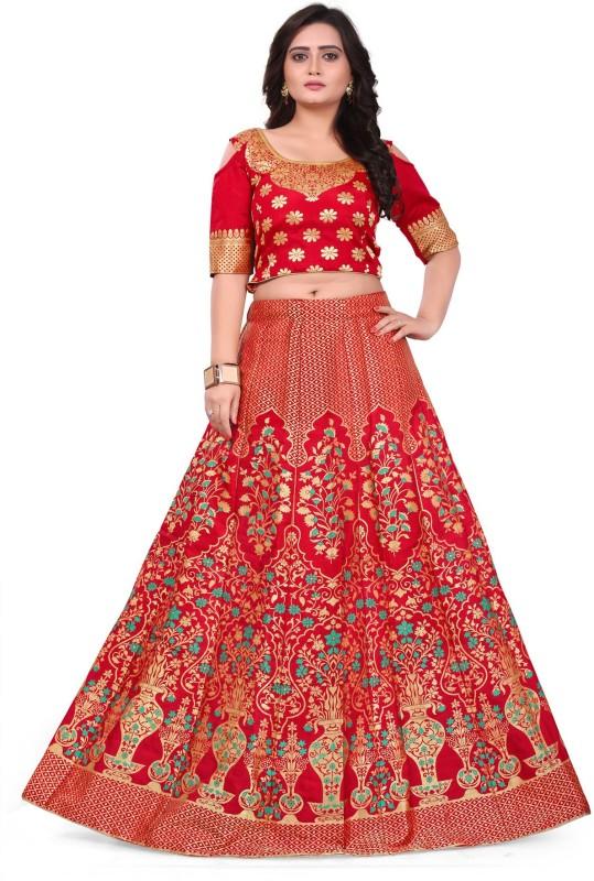 Salwar Studio Printed Semi Stitched Lehenga Choli(Red, Gold)
