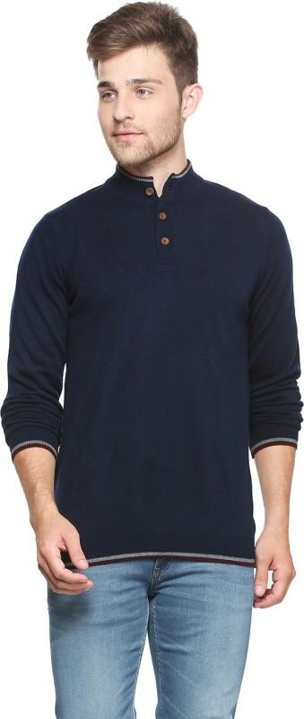 Peter England Solid Crew Neck Casual Men Dark Blue Sweater