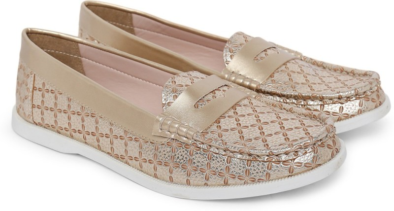 Carlton London Loafers For Women(Gold)