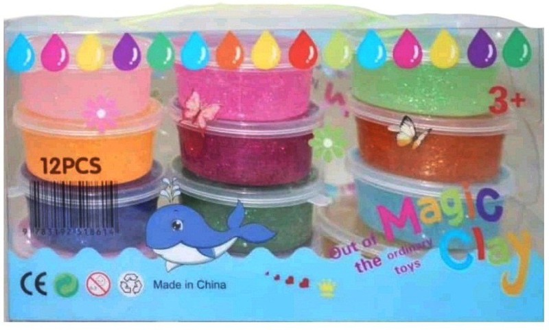 S2KCrafts S2kC-0985 Sparkling glitter jelly art clay 5D Slime ultra-light clay Super-Light Modeling Air Dry Magic Clay Jelly with Straws for Kids/Teens - non-toxic Green Environmental Protection - 12 Colors Art Clay(1.5 g)