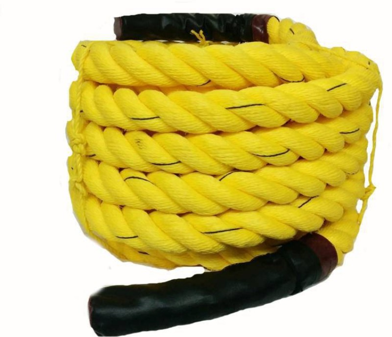 Fosco Premium (4 inch-15 Mtr/50 Ft) Gym Exercise Muscle Battle Rope - Yellow Battle Rope(Length: 50 ft, Weight: 10 kg, Thickness: 4 inch)