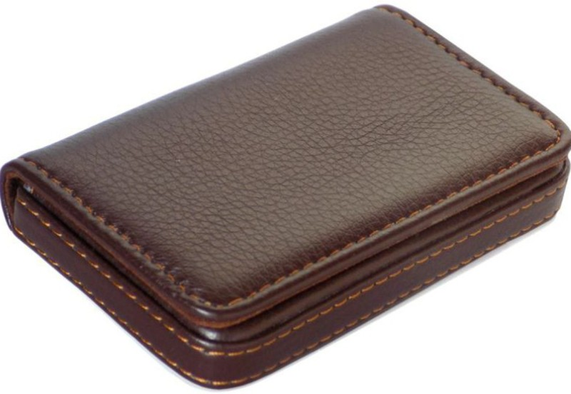 Flipkart SmartBuy Dark Brown Business Card Holder Luxury PU Leather Wallet Credit Cards ID Case/Holder for Men & Women 8 Card Holder(Set of 1, Brown)
