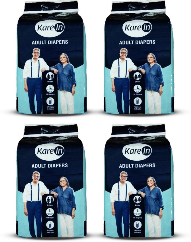 """Karein Adult Diapers, Size Large, Combo of 4 Packs for Waist Size 40""""-55"""" Adult Diapers - L(40 Pieces)"""