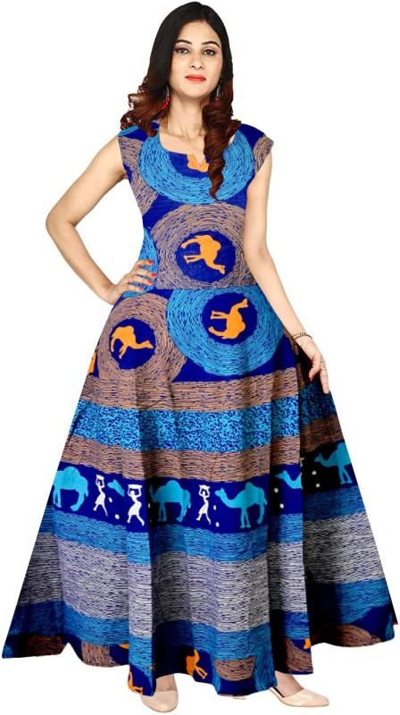 JWF Women's Maxi Blue Dress