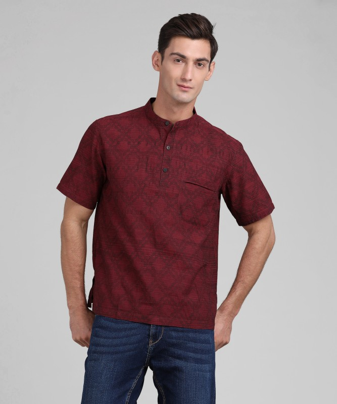 Fabindia Men Printed Straight Kurta(Maroon)