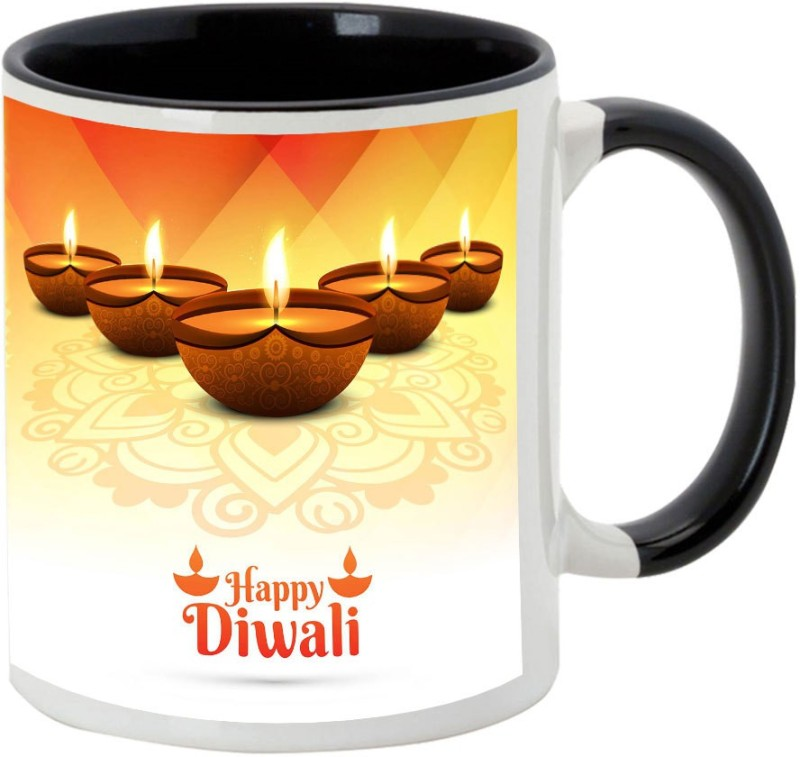 AllUPrints Diwali Gifts/ Gifts For Diwali - Prosperous Happy Diwali Design 50 Black Ceramic Mug(325 ml)