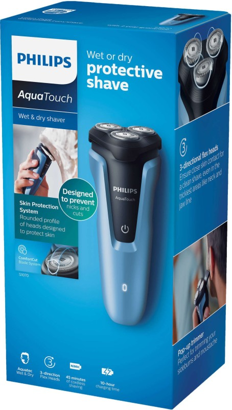 Philips Aquatouch S1070/04 Wet and Dry Electric Shaver Cordless Trimmer for Men(Blue)