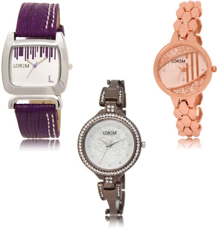 LOREM SR-207-222-236 Beautiful Fancy Pack Of 3 Combo Analog Watch  - For Women