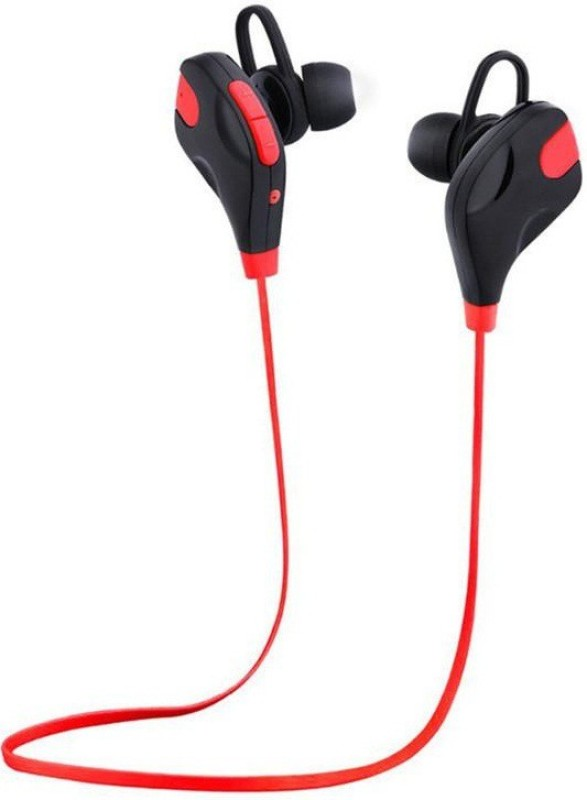 BIRATTY Sweat-Proof Sports Hi-Fi Sound Headphones with Extra Bass Bluetooth Headset with Mic(Red, In the Ear)