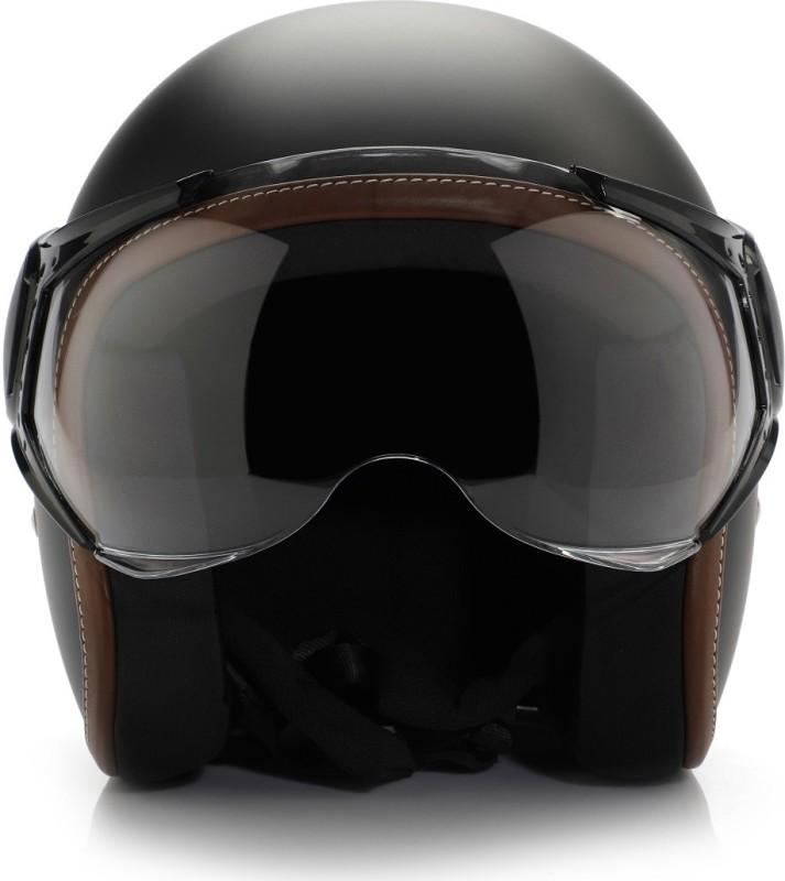 Vespa Colour Helmet Black Motorbike Helmet(Black)