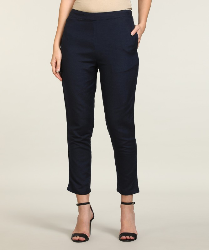 Global Desi Tapered Women Dark Blue Trousers