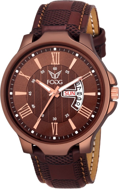 Fogg 1164-BR Brown Day and Date Unique New Watch - For Men
