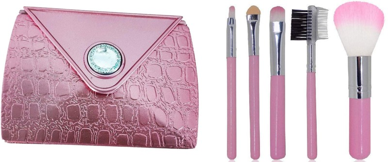 Fully Combo Of Beautiful And Stylish Makeup Compact Mirror With 5 Pcs Makeup Brushes For Diwali Gifts Items, Folding Or Pocket Mirror For Travelling Use, Pack Of 1(Set of 6)