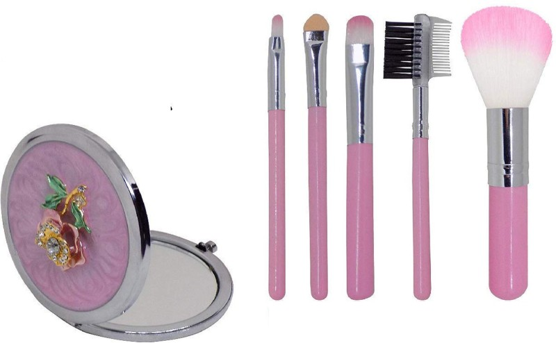 Fully Best Diwali Gift Combo Of Mini Beautiful Pocket Mirror With 5 Pcs Profession Use Makeup Brushes Set For Girls In Diwali, Pack Of 1(Set of 6)