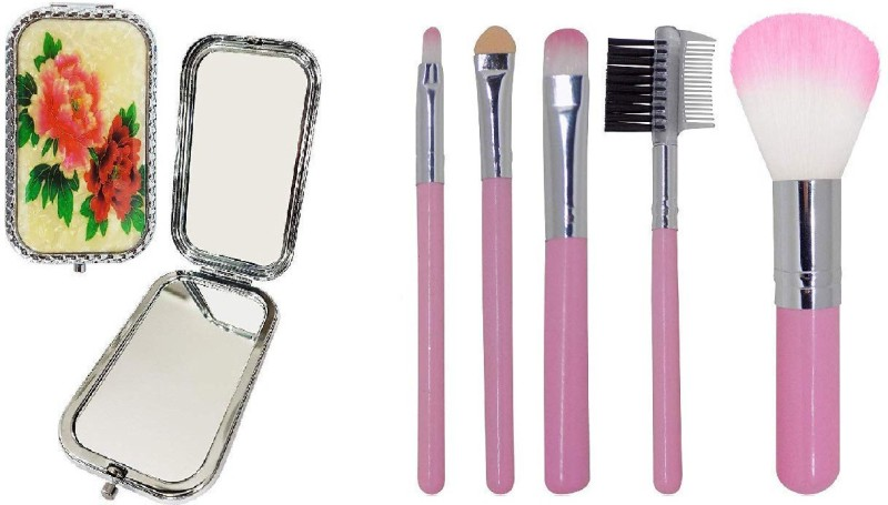 Fully Diwali Gifts Combo Of 5 Pcs Makeup Brush Set With Compact Mirror, Professional Salon And Parlour Use Brushes With Double-Sided Folding Compact Mirror For Travel Use, Perfect Diwali Gift For Your Sister, Friends, Wife(Set of 7)