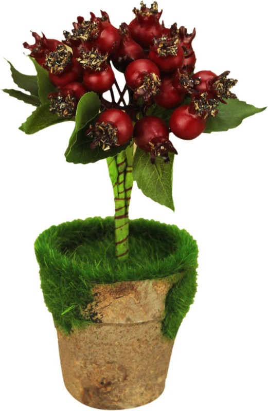 AVMART Red Pomegranate 8 Inch Artificial Fruit Plant for Indoor/Outdoor Home, Office, Garden Lawn Decoration with Pot for Gift & Home Decor Artificial Fruit(Set of 15)