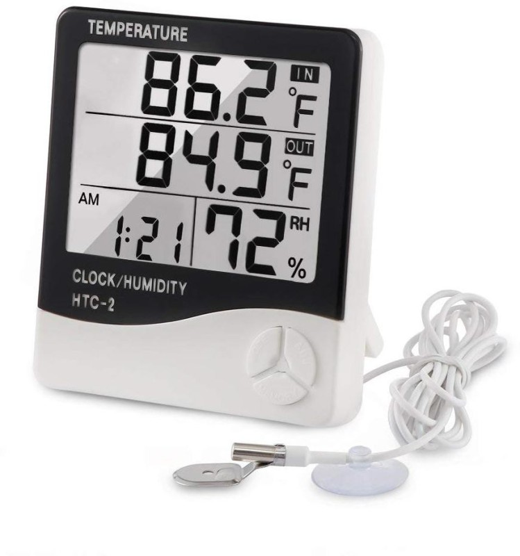 Divinext HTC-2 Hygrometer Digital LCD Humidity Meter Thermohygro HTC 2 Indoor Outdoor Humidity Tester Weather Station with Max/Min Memory + C°/F° Key + Temperature + Data Store + Time Function + Alarm Clock + Calendar + Relative Humidity Room Wall Thermometer with External Wired Probe Sensor Built